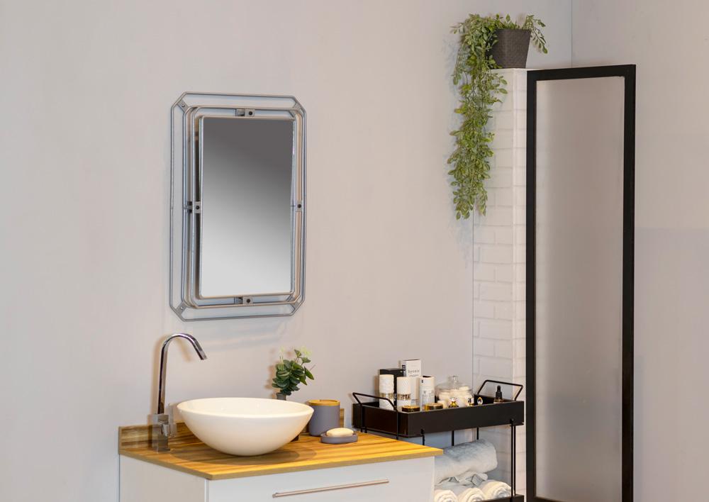 Espelho decorativo aramado para banheiro