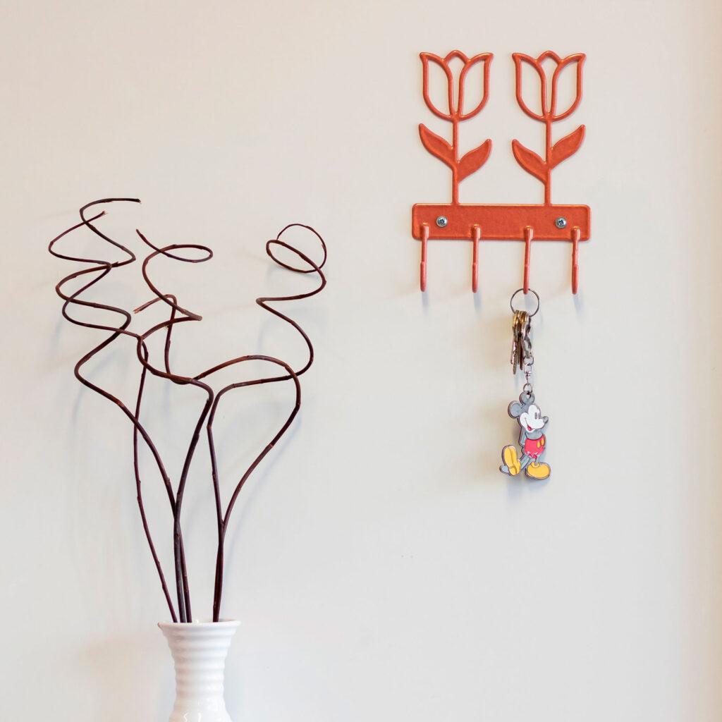 Gancho de parede aramado Flor