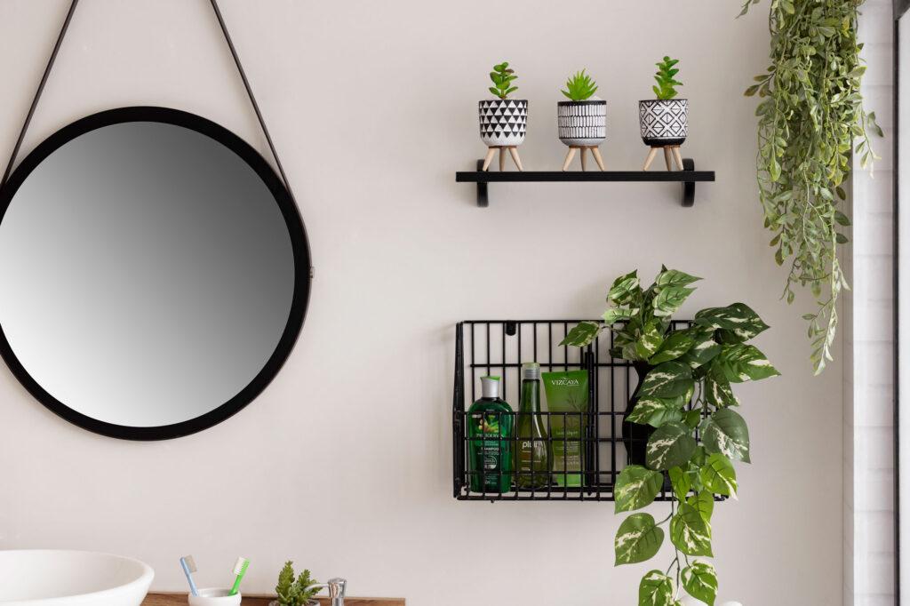 Cesto de Parede decorado com plantas