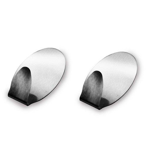 Gancho oval grande em aço inox com 2 unidades - Metálico