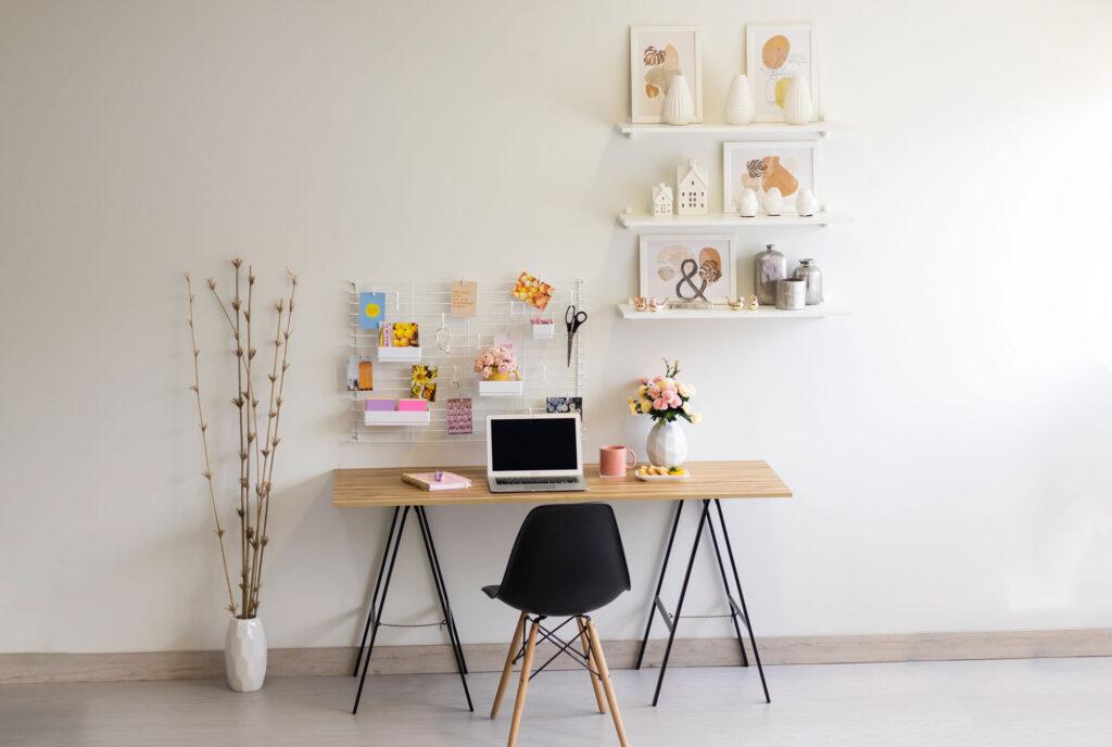 Home office com aramados