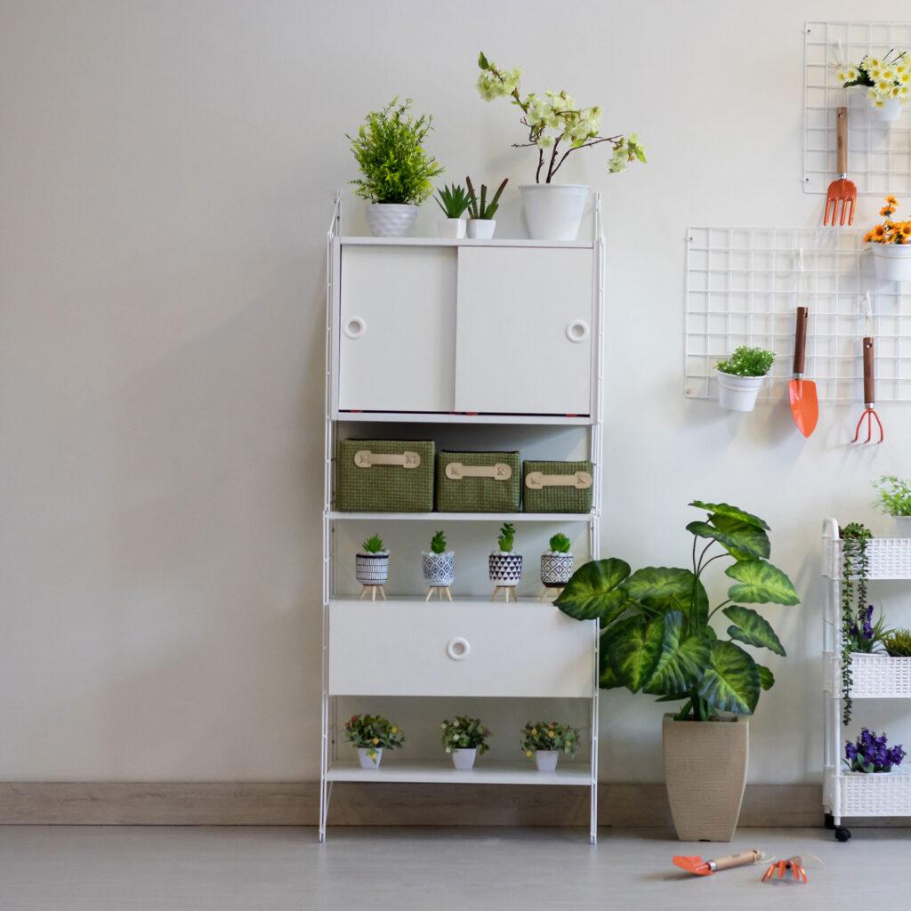 Kit estante aramada com armário e gaveteiro Connect