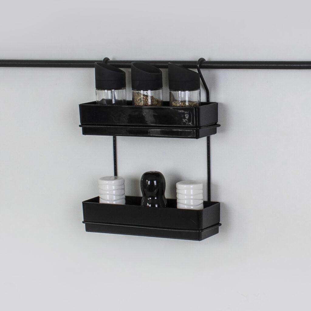 Porta temperos e condimentos duplo para parede - Linha Cook Premium - Não acompanha barra
