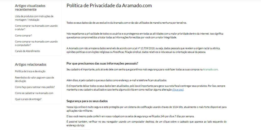 Política de Privacidade da Aramado.com