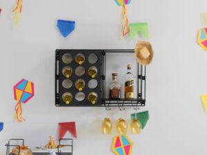 Prateleira adega decorativa aramada Retrô para 12 garrafas e 6 taças