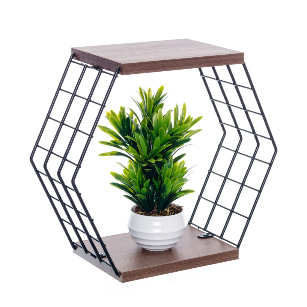 Nicho decorativo hexagonal com prateleiras - Linha Wire - Aramado com madeira