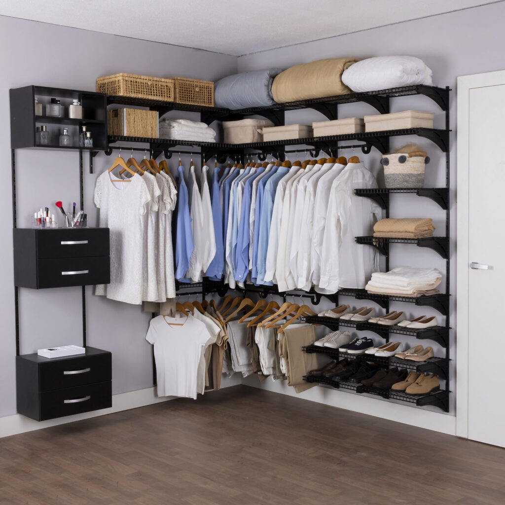 Armário aramado kit 29 - Closet ou quarto com módulo e nicho de madeira