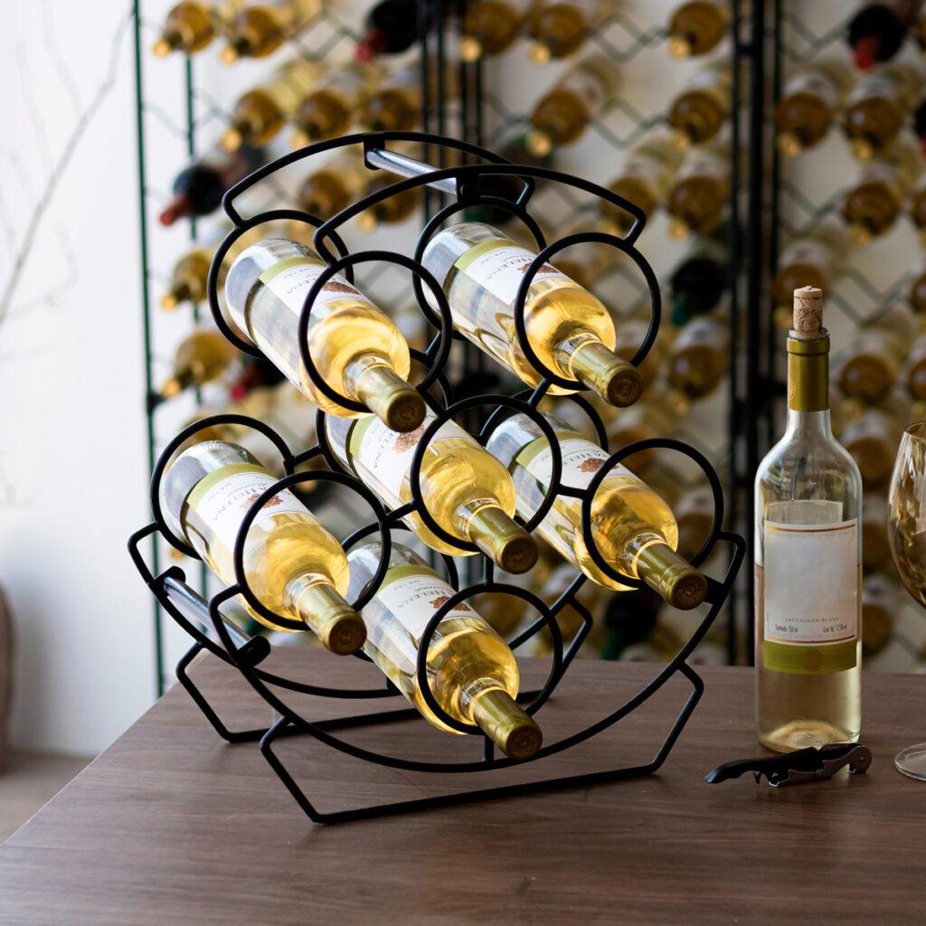 Garrafeiro decorativo aramado Merlot para 6 garrafas