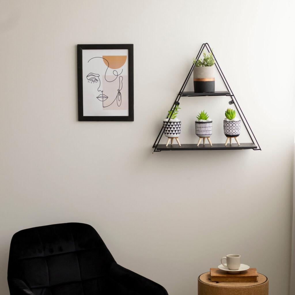 Prateleira Aramada Rústica Decorativa Triangular