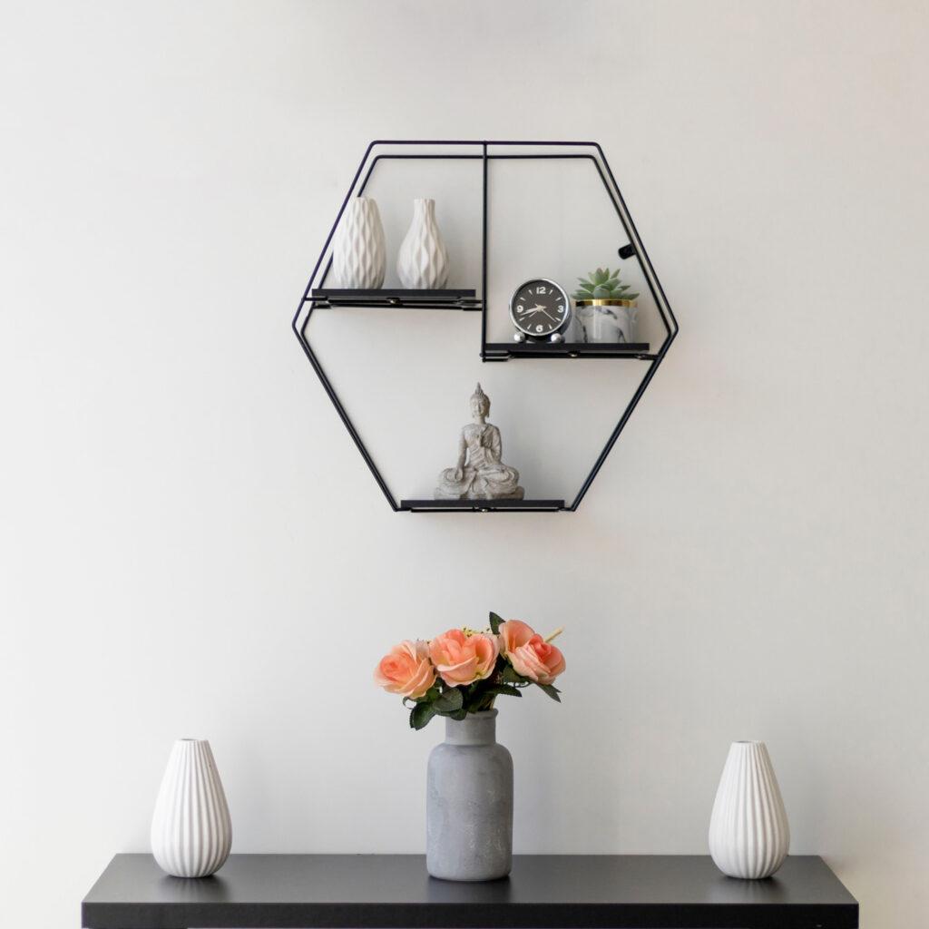 Prateleira Aramada Rústica Decorativa Hexagonal