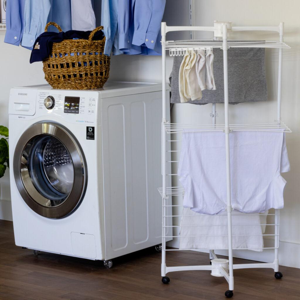 Varal X dobrável aramado para lavanderia pequena