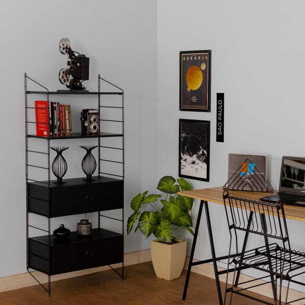 Kit estante aramada com gaveteiro duplo Connect