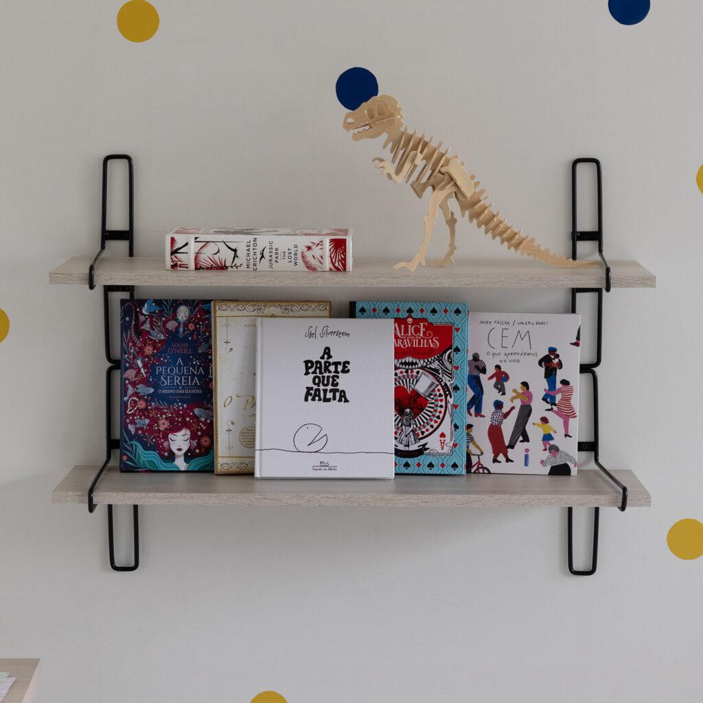 Prateleira Decorativa Para ambientes Pequena Aramado com madeira Charming